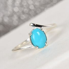 Arizona Sleeping Beauty Turquoise Solitaire Ring in Sterling Silver