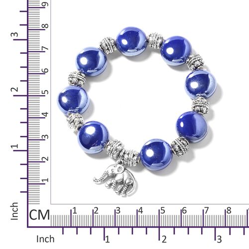 Set of 3- Simulated Blue Sapphire, Austrian White Crystal, Ceramic, Murano Style Glass and Multi Colour Beads Bracelet in Silver Plated.