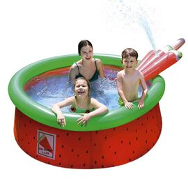 Inflatable Watermelon Kids Swimming Pool with Spray (Size: 1.75mx62cm) - Red and Green
