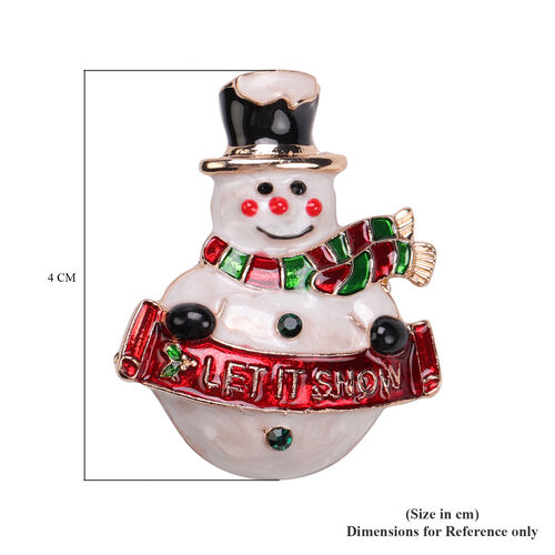 Black and Red Austrian Crystal Enamelled Snowman Brooch