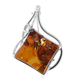 Natural Baltic Amber Brooch in Sterling Silver 25.00 Ct, Silver wt 8.99 Gms