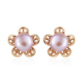 Fresh water pearl - Pink (4.00 Ct) 14K Gold Overlay Sterling Silver Earring  4.000  Ct.