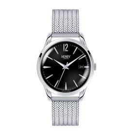 HENRY LONDON Edgware Ladies Black Dial Mesh Bracelet Watch in Silver Tone