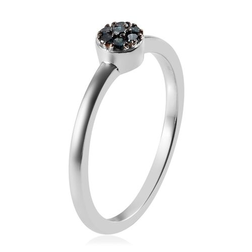 Blue Diamond (Rnd) Floral Ring in Platinum Overlay Sterling Silver 0.08 Ct.