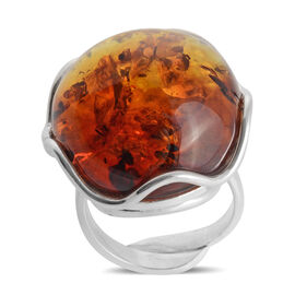 Baltic Amber Adjustable Solitaire Ring in Sterling Silver 8 Grams