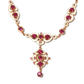 Designer Inspired African Ruby Enamelled Necklace (Size 18) in 14K Gold Overlay Sterling Silver 15.7