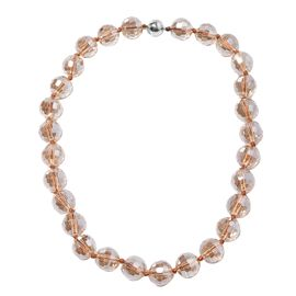 Champagne Glass Beaded Necklace in Stainless Steel 20 Inch