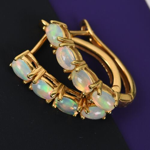 Ethiopian Welo Opal (Ovl) Hoop Earrings (with Clasp Lock) in 14K Gold Overlay Sterling Silver 1.350 Ct.