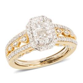 14K Yellow Gold Diamond (Sqr and Rnd) (I1-I2/G-H) Ring 1.000 Ct. Gold wt 6.40 Gms.