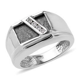 Meteorite (Bgt 12x8mm), Natural Cambodian Zircon Ring in Platinum Overlay Sterling Silver 1.03 Ct, S