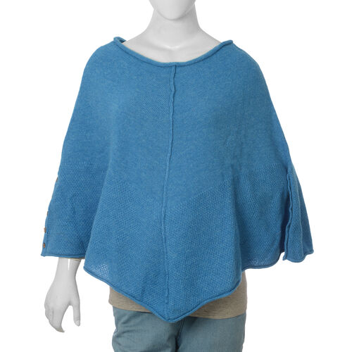 80% Wool Blue Colour Poncho (Size-20, 56x116cm) Large