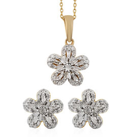 2 Piece Set - Diamond (Rnd and Bgt) Floral Pendant with Chain (Size 18) and Earrings (with Push Back