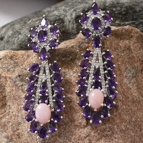Peruvian Pink Opal (Ovl), Amethyst and Natural Cambodian Zircon Chandelier Earrings (with Push Back) in Platinum Overlay Sterling Silver 11.750 Ct. Silver wt 11.39 Gms. Number of Gemstone 162