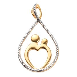 Mother And Baby Diamond Pendant in Platinum and Yellow Gold Overlay Sterling Silver
