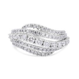 14K White Gold Diamond (I1-I2/ G-H) Ring 1.40 Ct, Gold wt 5.99 Gms