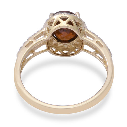 Extremely Rare - 9K Yellow Gold AAA Red Zircon (Ovl 9x7mm-3cts), Natural Cambodian Zircon Ring 4.00 Ct.