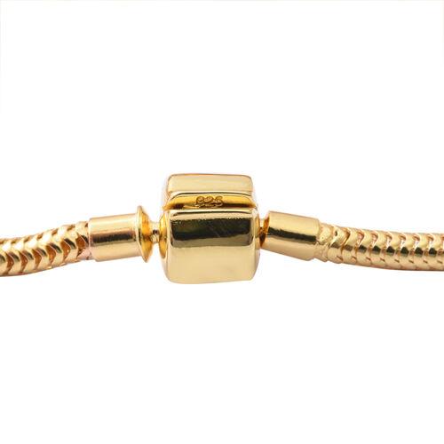 Designer Inspired- 14K Gold Overlay Sterling Silver Bracelet (Size 7.5) with Charm, Silver wt 27 Gms.