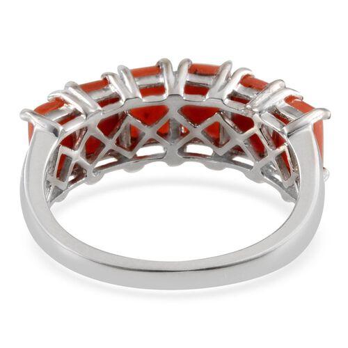 Natural Mediterranean Coral (Bgt) Ring in Platinum Overlay Sterling Silver