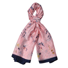 Pink and Navy Colour Butterfly with Floral Pattern Scarf (Size 90x180 Cm)