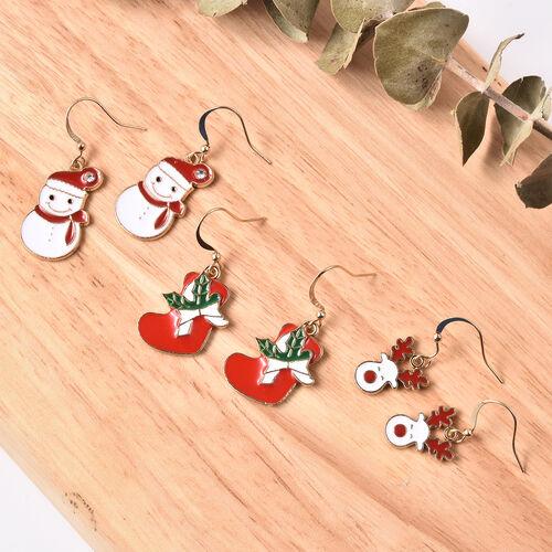 3 Piece Set - White Austrian Crystal Enamelled Snowman, Reindeer and Christmas Socks Hook Earrings in Stainless Steel