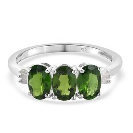 Russian Diopside and White Diamond Ring in Sterling Silver 1.27 Ct.