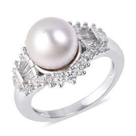 White South Sea Pearl (Rnd 9-10 mm), Natural White Cambodian Zircon Ring in Rhodium Overlay Sterling