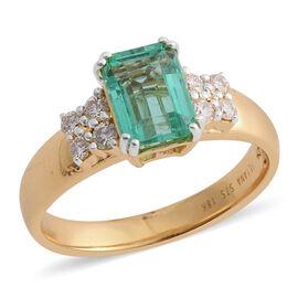ILIANA 1.50 Ct AAA Boyaca Colombian Emerald and Diamond Ring in 18K Gold