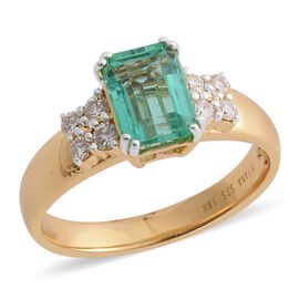 Signature Collection- ILIANA 18K Yellow Gold AAA Colombian Emerald (Oct) and Diamond Ring 1.500 Ct.