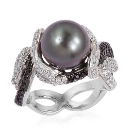 Tahitian Pearl, Natural White Cambodian Zircon and Boi Ploi Black Spinel Ring in Black Rhodium Plate