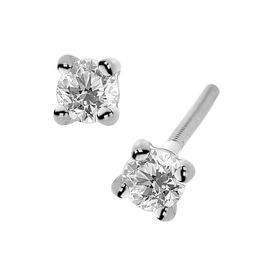 ILIANA 18K White Gold IGI Certified Diamond (Rnd) (SI/G-H) Stud Earrings (with Screw Back) 0.250 Ct.