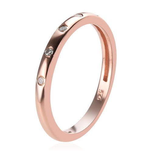 Diamond (Rnd) Stacker Band Ring in Rose Overlay Sterling Silver 0.05 Ct.