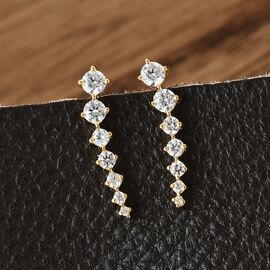 J Francis 14K Yellow Gold Overlay Sterling Silver Climber Earrings Made with Swarovski Zirconia