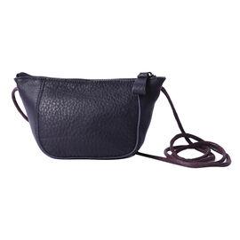 Genuine Leather Middle Size Crossbody Bag - Black