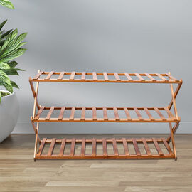 Foldable 3 Tier Bamboo Shoes Rack (Size:70x146Cm)
