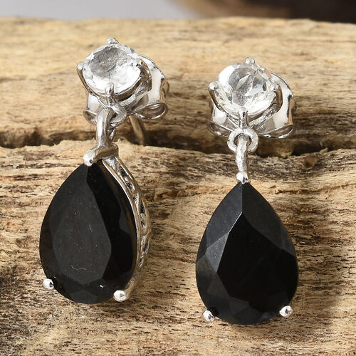 Black Tourmaline (Pear), White Topaz Drop Dangle Earrings in Platinum Overlay Sterling Silver 4.250 Ct.