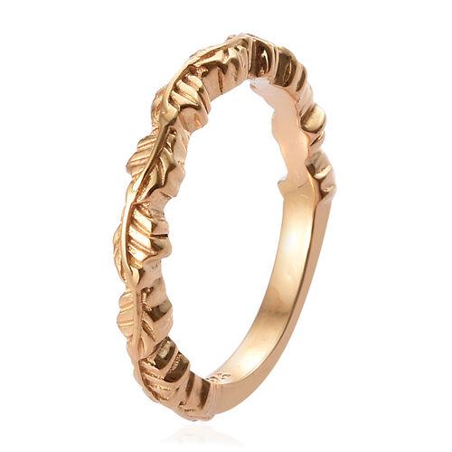 14K Gold Overlay Sterling Silver Leaf Band Ring