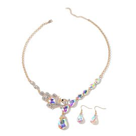 Aurore Borealis Color Crystal (Pear), White and Black Austrian Crystal Drop Hook Earrings and Necklace (Size 21 and 2 inch Extender) in Yellow Gold Tone