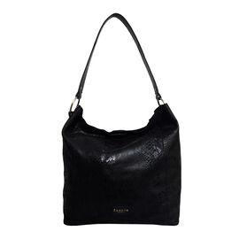 Assots London ESME Genuine Suede Leather Python Print Hobo Bag - Black