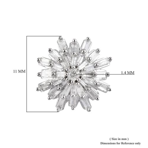 9K White Gold SGL Certified Diamond (I3/G-H) Star Burst Stud Earrings (with Push Back) 0.50 Ct.