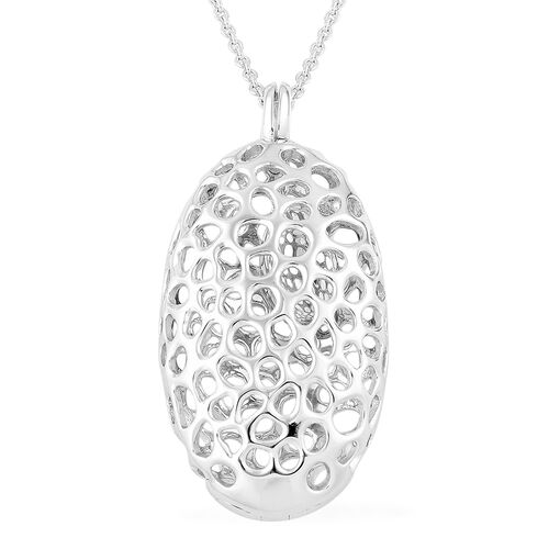 RACHEL GALLEY Rhodium Plated Sterling Silver Lattice Oval Necklace (Size 30), Silver wt. 23.55 Gms.