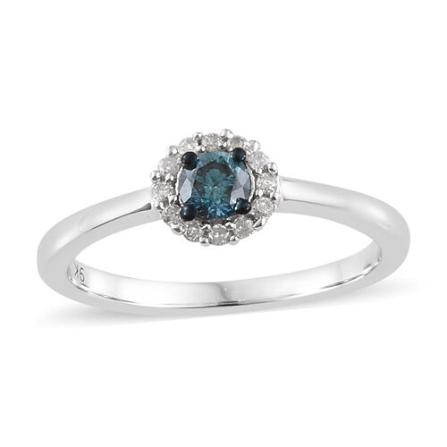 9K White Gold Blue and White Diamond (Rnd) Floral Ring