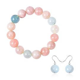 2 Piece Set - Espirito Santo Aquamarine (Rnd 13-15 mm), Multi Beryl Beads Strechable Bracelet (Size