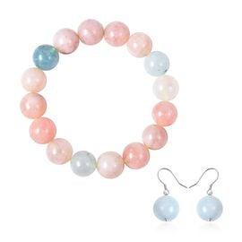 2 Piece Set - Espirito Santo Aquamarine (Rnd 13-15 mm), Multi Beryl Beads Strechable Bracelet (Size