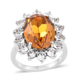 J Francis Crystal from Swarovski - Imperial Topaz Colour Crystal (Ovl 18x13mm), White Crystal Ring i