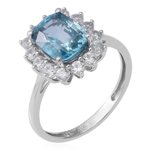 9K White Gold Ratanakiri Blue Zircon and Natural Cambodian Zircon Ring 4.43 Ct.