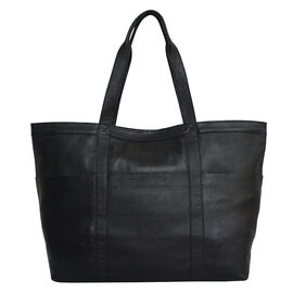 Assots London ALICE Soft Full Grain Oversized Leather Shopping Bag in Black (Size 33x12x29cm)