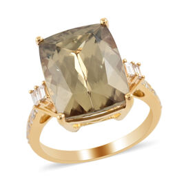ILIANA 18K Yellow Gold AAAA Turkizite and Diamond (SI/G-H) Ring 10.55 Ct.