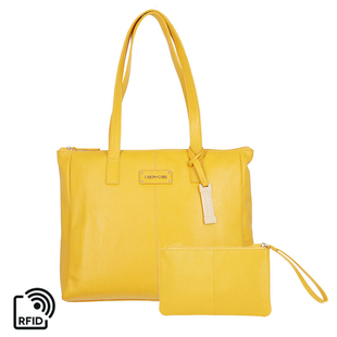 Union Code 100% Genuine Leather Mustard Tote Bag and RFID Wristlet/Clutch Bag