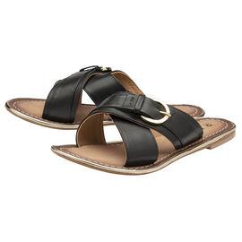 RAVEL Black Nola Leather Flat Sandals