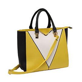 New Season - Colour Blocking Handbag with Removable Strap (28 x 31 x 16) - Yellow